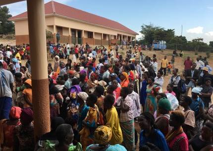 Crowds waiting to see a doctor, at one of our pop-up medical clinics